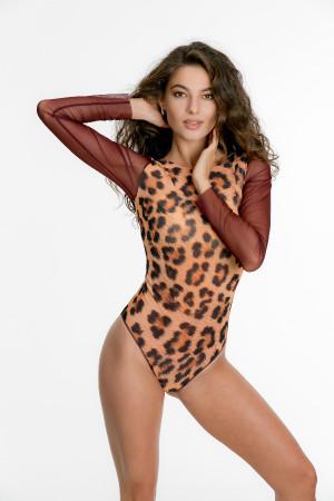 """Слитный купальник с рукавами RoDaSoleil """"Леопард"""""""